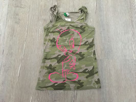 1826 Long Shirt camouflage mit TWEETY pink  von BENETTON Gr. 98