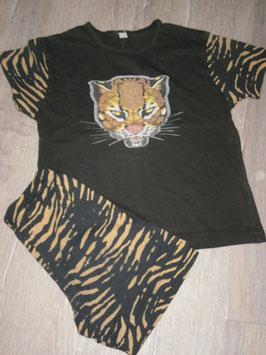 1999 Sommer Schlafanzug schwarz mit Tiger Gr. 116