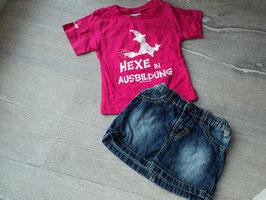 SK-51 Sommer Set zusammengestellt Shirt in pink mit Hexe *Hexe in Ausbildung*von ANNA &PHILLIP,Jeansrock Liegelind Gr. 68/74