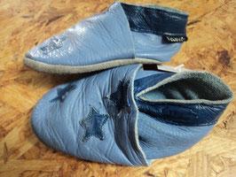 L-72 Echtleder Lauflern Schlappen in blau mit Sterne von CELAVIE Gr. 19/20