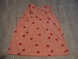 2776 Hängerchen rosa weiße Punkte mit roten Herzchen von H&M Gr. 80
