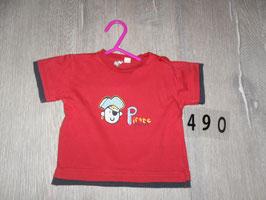 490 Shirt rot mit Pirat von BOB DER BÄR  Gr. 62
