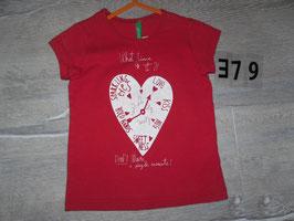 379 Shirt rot mit Herzuhr von BENETTON Gr. 90