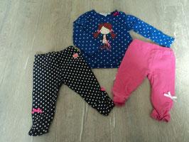 776 LA Shirt blau weiße punkte mit Mädchen dazu passend 2x Leggins gepunktet und pink von KIDS AND FRIENDS Gr. 68