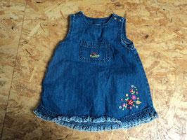 V-173 Jeans latzkleid blau mit Blumen und Druckknöpfe von TOPOLINO Gr. 92