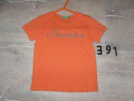 391 Shirt orange Schrift silber Glitzer von BENETTON Gr. 80