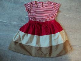 3108 Maritimes Kleid rot beige mit Schleife , 2 lagig von NEXT Gr. 92