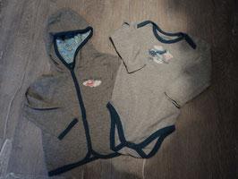 2230 Set Jäckchen grau mit Kapuze und LA Body grau blau von SUPERBaBY Gr. 86/92