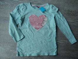 F-258 LA Shirt mint mit Wendepailletten Herz rosa von DOPODOPO Gr. 110