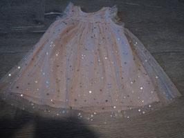 3087 Tüllkleid rosa mit silbernen Sternen von H&M Gr. 80