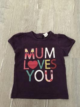1795 Shirt lila 'MUM LOVES YOU' von H&M Gr. 86