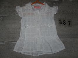 387 Weißes Blusenkleidchen mit Stickerei von LUCKY STAR Gr. 80
