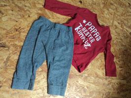 V-63 Set LA Shirt in rot 'Papas bester Kumpel' mit Hose in grau von TOPOMINI Gr. 74
