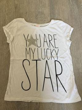 1843 Shirt ' Yu are my Lucky Star' mit STeinchen und Glitzer von H&M Gr. 146/152