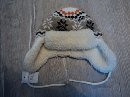 886 Dicke Wintermütze beige schwarz  Gr. 74-86