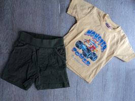 M-166 Zusammengestelltes Set Shirt gelb mit Monster Truck und Shorts in khaki Gr. 74