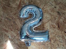 727 Zahlenluftballon 2 in Silber