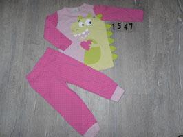 1547 Schlafanzug pink mit Drache Gr. 86