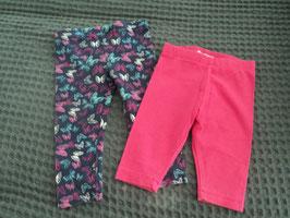 F-113 Doppelpack Leggins pink-dunkel lila mit Schmetterlinge Gr- 6-9 Monate