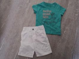 1447 T Shirt mint mit Krokodil von OBAIBI mit weißer kurzen Shorts Gr. 80