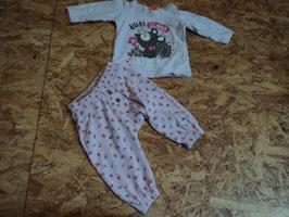 SR-231 Zusammengestelltes Set LA Shirt roa mit Eichhörnchen-Hose in rosa mit Erdbeeren von TOPOMINI Gr. 62