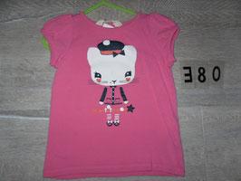 380 Shirt pink mit Katze Glitzer von H&M Gr. 92