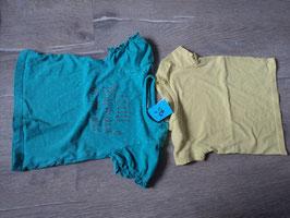 3022 Set Shirt türkis mit weiße Punkte und Glitzerschrift und gelb Uni von BABYCLUB Gr. 80