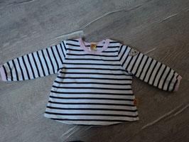 2153 LA Shirt gestreift schwarz weiß abgesetzt mit rosa von STEIFF Gr. 62