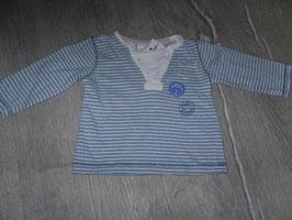 1353 LA Shirt gestreift blau weiß Bär Gr. 68