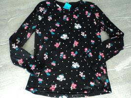N-4 LA Shirt schwarz mit Blumen und weißen Punkten von C&A Gr. 146/152