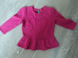 3229 LA Wollkleid in pink mit Herz von BENETTON Gr. 74