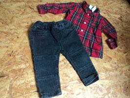 V-81 Set Flanellhemd rot/weiß/gelb/schwarz karriert und Jeans Slim fit in grau -enger stellbar von H&M Gr. 74