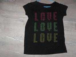 353 Shirt schwarz meliert neon LOVE Gr. 134