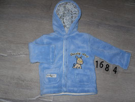 1684 Dicke Winterjacke Teddy hellblau mit Hund Gr. 68