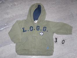 30 Kapuzen Sweatjacke khaki L.O.G.G von H&M Gr. 74
