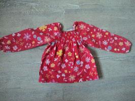3166 Mega süsses LA Shirt rot mit Blumen , oben geraffter Gummizug von JAKO-O Gr. 104/110