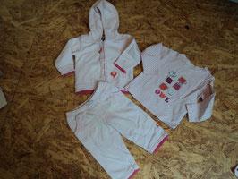 SR-159 Set LA Shirt rosa/pink gepunktet mit Eulen-Hose mit Rüschen-Kapuzenjäckchen von BOB DER BÄR Gr. 68