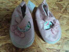 V-129 Süsse Sandalen in rosa Glitzer mit Schleife Gr. M  (14)