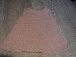 2834 Handmade Kleidchen gestreift grau meliert rose hinten mit Knopf aus Sommer Sweat  Gr. 80/86