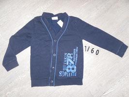 1160 Sweatjacke ohne Kapuze blau Gr. 122