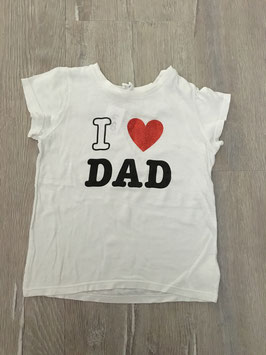 1820 Tolles Shirt weiß 'I Love Dad' Herz glitzert von H&M Gr. 92