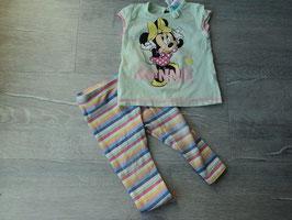 V-109 Zusammengestelltes Set Shirt in mint mit Minnie Mouse glitzert-gestreifte Leggings von H&M Gr. 80