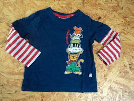 216 LA Shirt blau-weiß rot gestreift mit Tiere von LIEGELIND Gr. 86