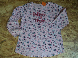 F-54 LA Shirt in rosa mit Blumen und Glitzerschrift-Believe in Magic von TOPOLINO Gr. 110/116