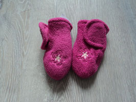 215 Handschuhe Pink mit Aufgestickter Blume