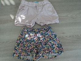 SK-116 Set Kurze Shorts -Blumen ,vorne Schleife-weiß rosa gestreift von H&M Gr. 92