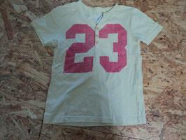 SS-112 Shirt in pastellgelb -Knopfleiste und rosa Zahl 23-hinten Schrift  Gr. 116