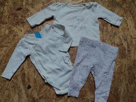 702 3 tlg. Set LA Wickelbody creme mit Eisbär-LA Shirt creme/rosa mit Eisbär und passender Leggings in rosa und Eisbären Gr. 50/56