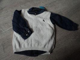 2954 Set Jeanshemd dunkelblau mit Druckknöpfe und beiger Pollunder von H&M Gr. 74