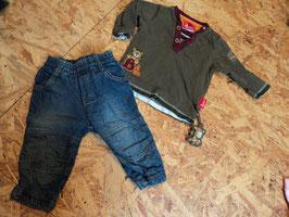 V-145 Set LA Shirt khaki beere mit Bär-Knopfleiste und Bäranhänger und gefütterte Jeans  von SIGIKID Gr. 68